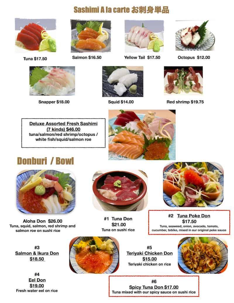 Furusato Sushi menu