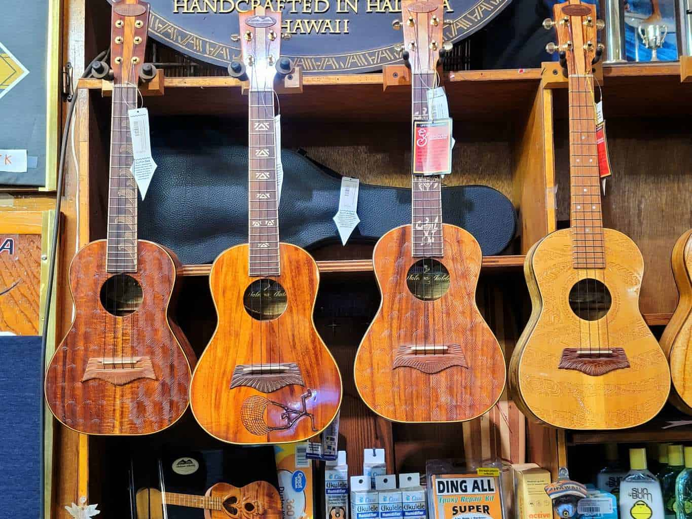Owner's handcrafted Ukuleles available for purchase!