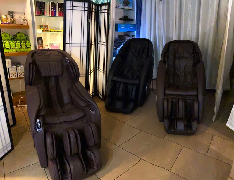 Massage chairs available for purchase! On sale for a limited time, contact for details.