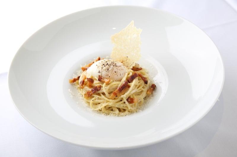 Arancino at The Kahala Spaghetti alla Carbonara *Local waimana TKG poached egg, Parmigiano