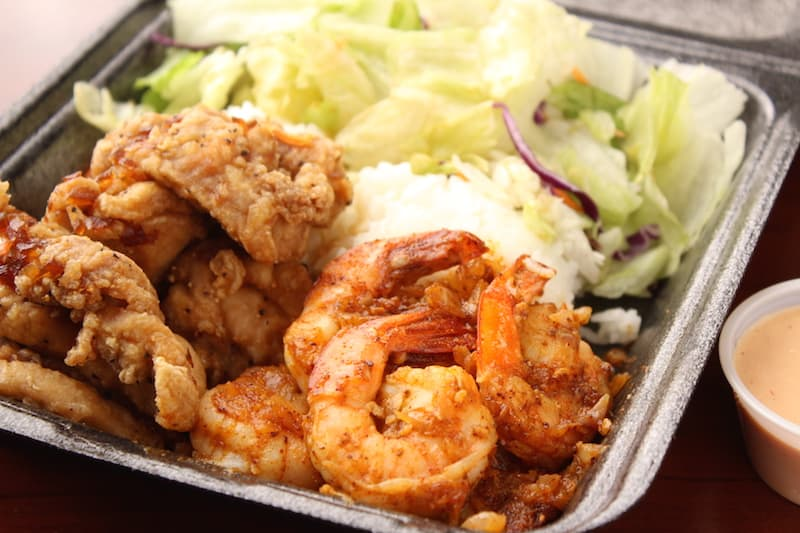 champions steak and seafood Half combo with Sweet Sauce Fried Chicken and Spicy Shrimp
