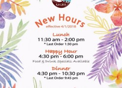 KAIWA starts Dinner & Happy Hour from 4:30 !!