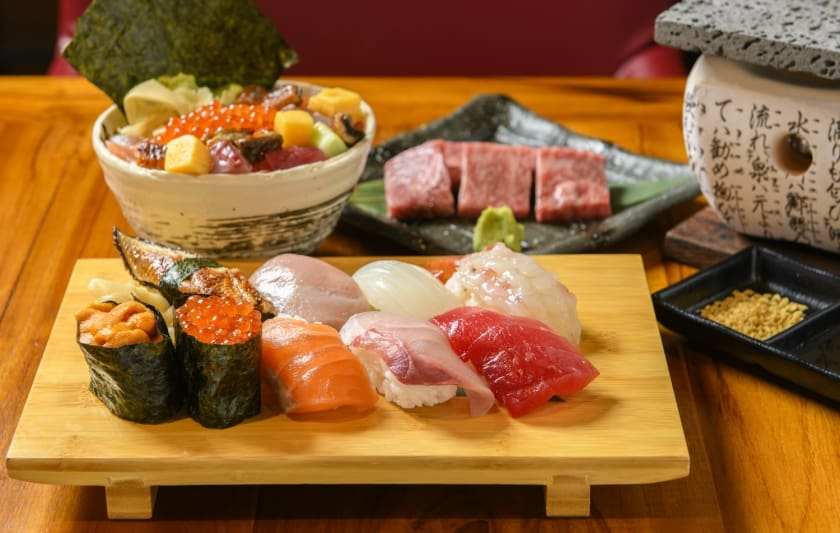 Savor Japanese dishes featuring Fresh Seafood and Wagyu.