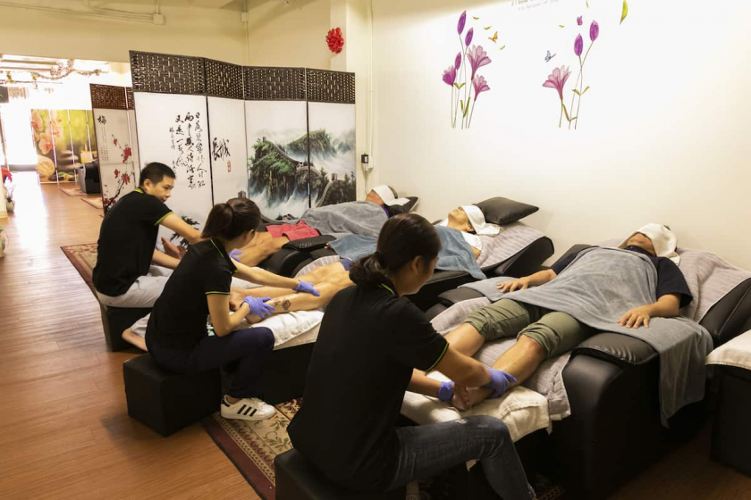 Relax with a footbath before your massage. *Couple's room for massage available!