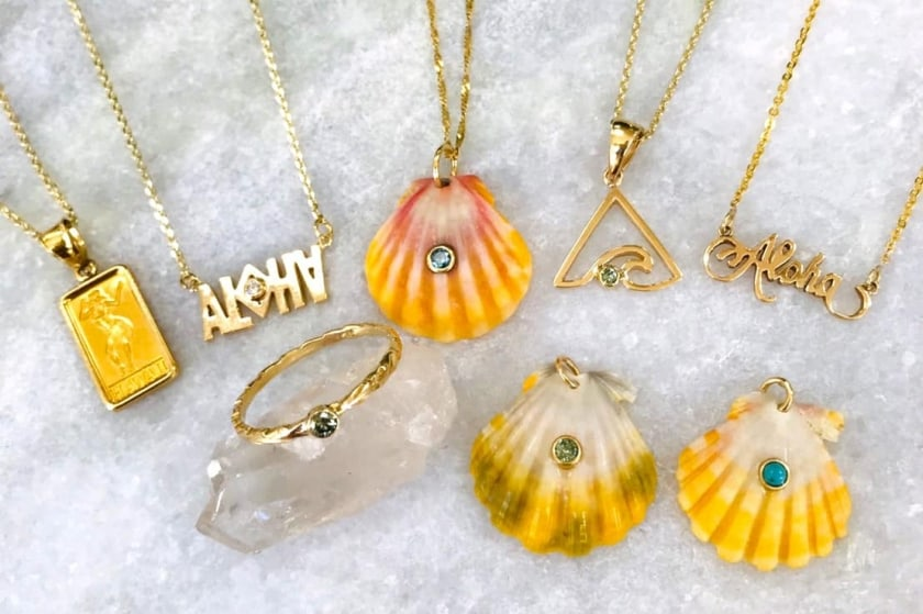 Find many unique pieces like Hawaiian sunrise shells and traiangle wave designs, which are said to bring good luck and fortune.