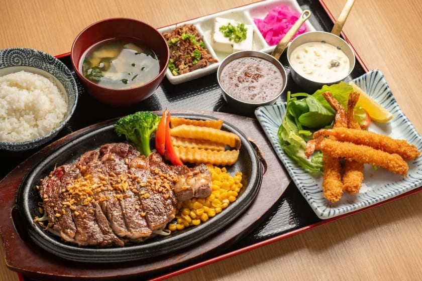 Rib Eye Steak and Deep Fried Shrimp: 2 main dishes set from $26.98