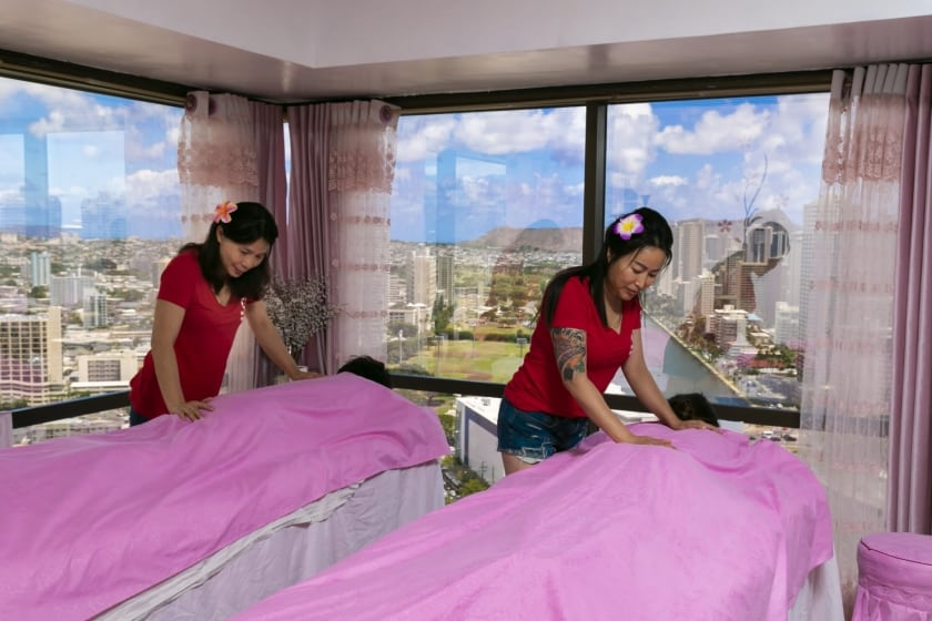 Experience a breathtaking view of Honolulu while you enjoy your treatment.