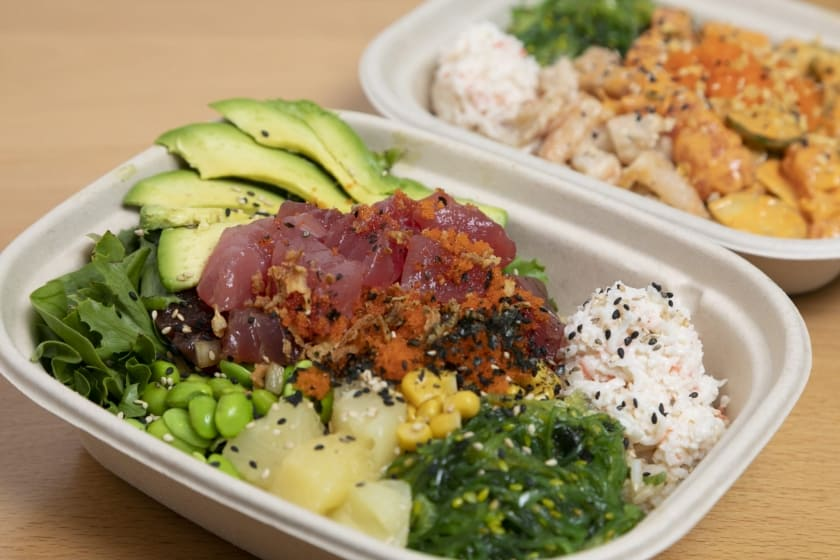 Customize your poke bowl by choosing your own toppings. Alcoholic beverages are also available!