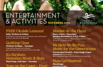 Entertainment & Activities in November at Waikiki Beach Walk ( Kaiwa located in 2nd floor)
