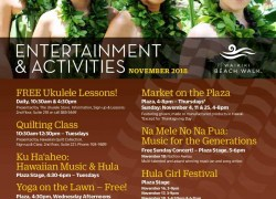 Entertainment & Activities in November at Waikiki Beach Walk ( Kaiwa located in 2nd floor)