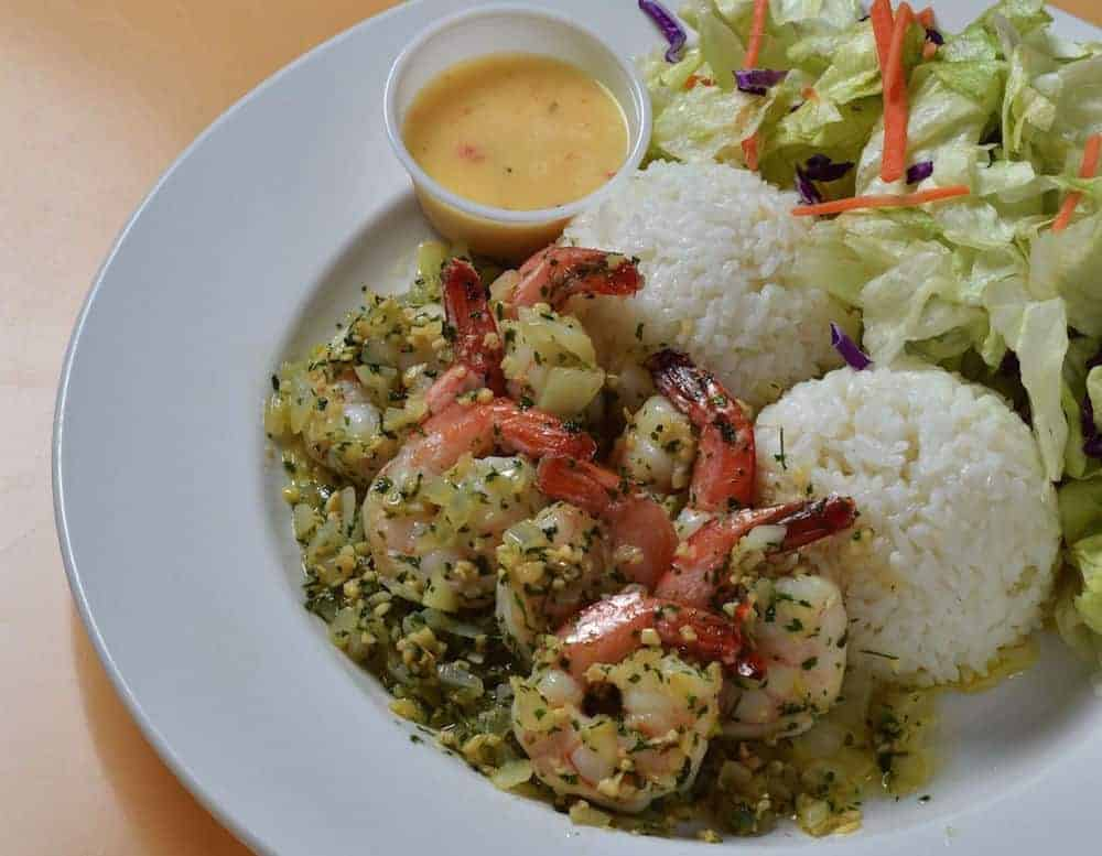 Garlic Shrimp of champion's steak and seafood